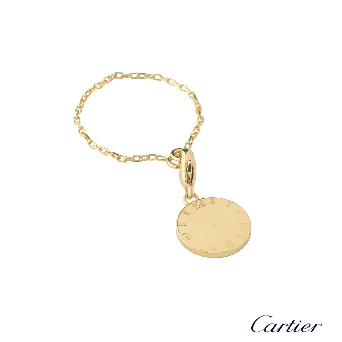 Cartier Yellow Gold Clock Dial Charm